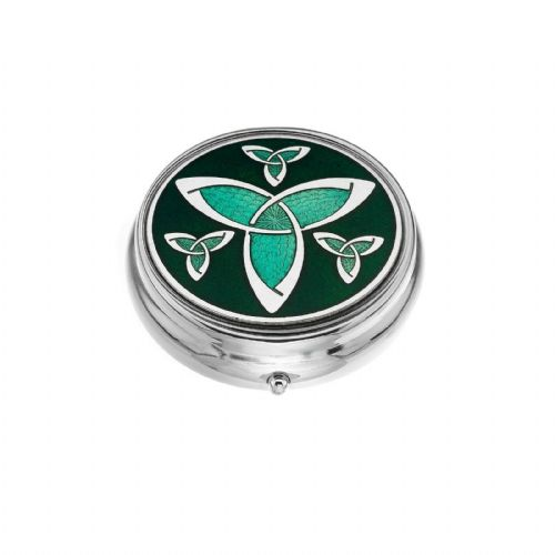 Large Pill Box Silver Plated Celtic Trinity Design Brand New & Boxed